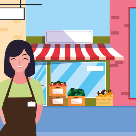 saleswoman with fruits store facade building vector illustration design