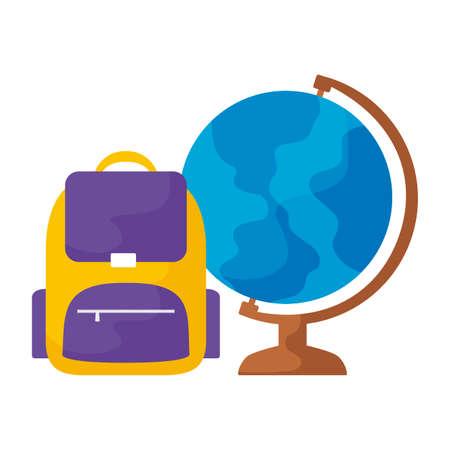 terrestrial globe with school bag vector illustration design