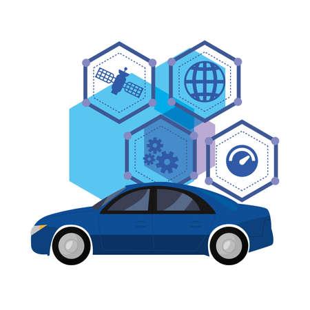 autonomous smart car vector illustration design image Stock Illustratie