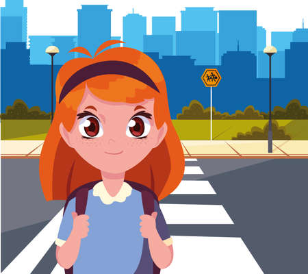 school girl with bag in the city street cityscape background vector illustration
