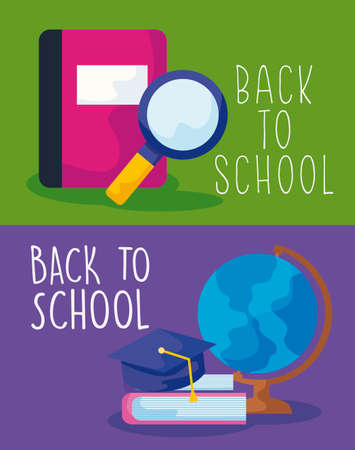 back to school with set supplies education vector illustration design