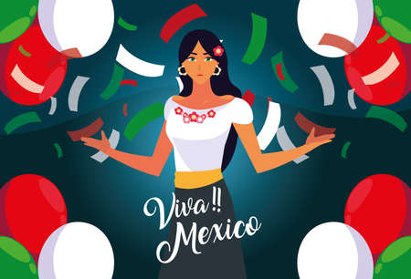 viva mexico label with woman with mexican typical costume vector illustration design
