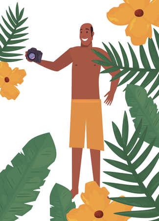 tourist man with camera tropic leaves flowers summer vector illustration Stock Illustratie