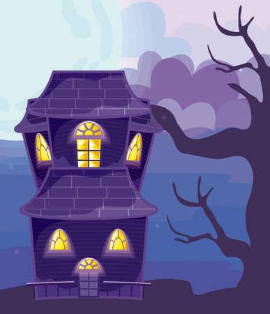 halloween horror house on halloween scene vector illustration design Vecteurs