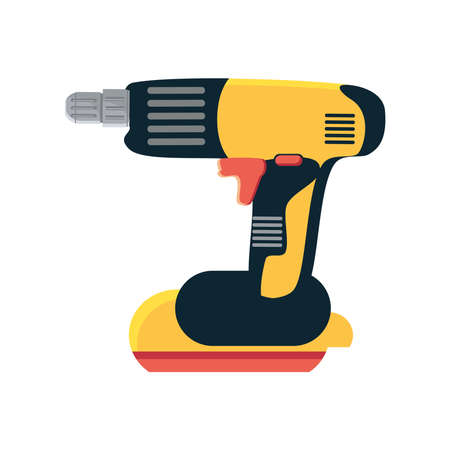 electric drill tool in white background vector illustration design