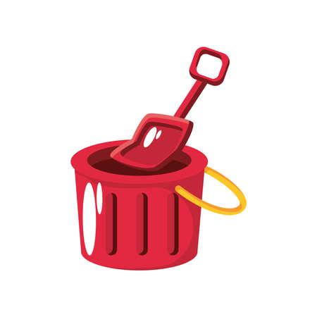 bucket with shovel, kids toy on white background vector illustration design