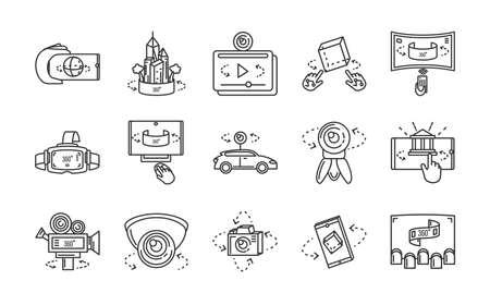 set of icons camera 360 degrees over white background vector illustration design