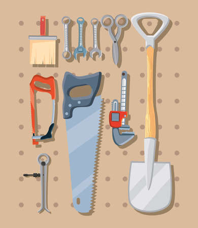 bundle of construction tools in white background vector illustration design