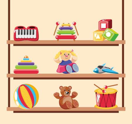 set of icons kids toy on wooden background vector illustration design Illustration