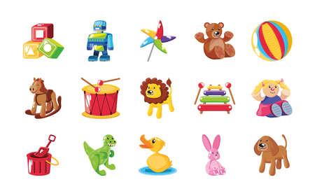 set of icons kids toy over white background vector illustration design