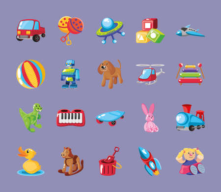 set of icons kids toy on purple background vector illustration design