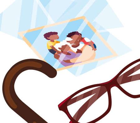 eyeglasses with photo memory - happy grandparents day flat design vector illustration Vetores