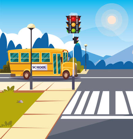 school bus transportation in road with traffic light vector illustration design Vektorové ilustrace