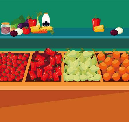 grocery shop fruits vegetables shelf vector illustration 向量圖像