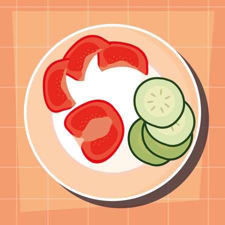 dish with tomato and cucumber preparation cooking vector illustration