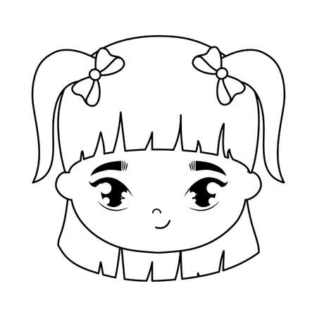 head of cute little girl avatar character vector illustration design