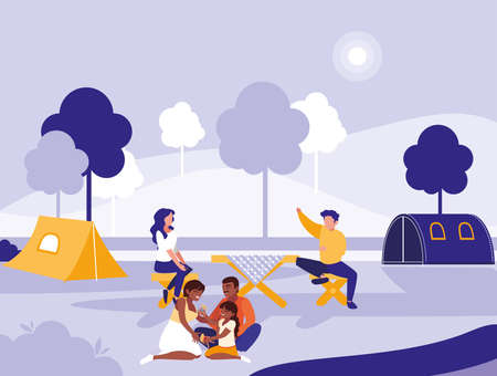 group of people in park in the city, scene of people outdoor vector illustration design