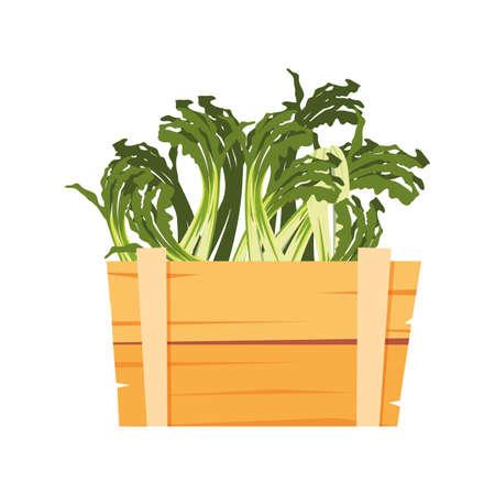 fresh vegetable scallion in wooden basket vector illustration 向量圖像