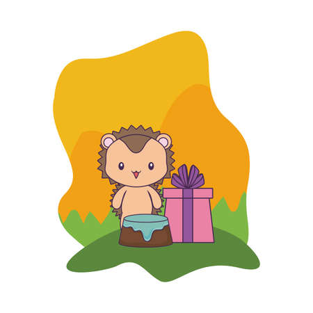 porcupine with cake of birthday and gift box vector illustration design
