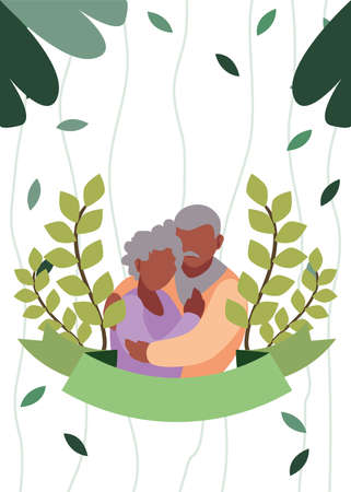 grandfather and grandmother hugging laurel branch foliage - happy grandparents day vector illustration