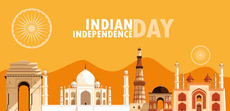 indian independence day poster with group of buildings vector illustration design