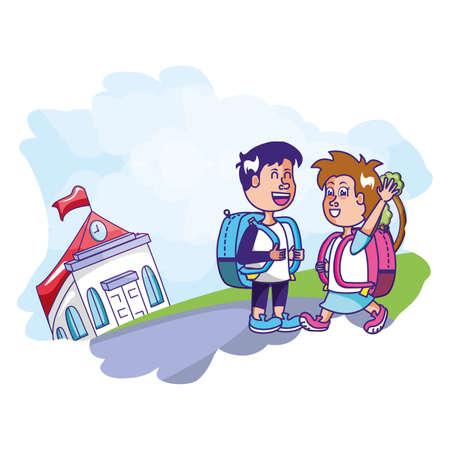 cute students with facade building school vector illustration design