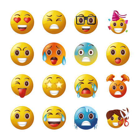 set of emoticons funny on white background vector illustration design