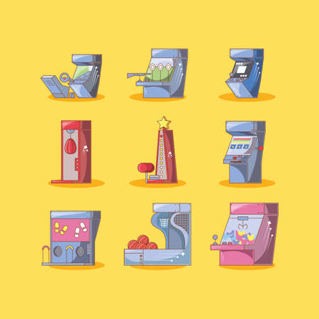 classic video game consoles with differents styles vector illustration design