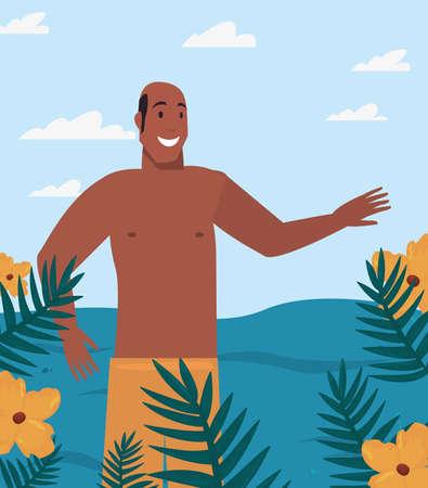 tourist man in swimsuit tropic leaves flowers summer vector illustration