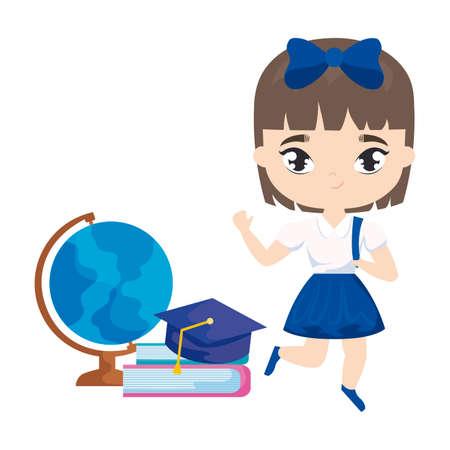 cute student girl with supplies school vector illustration design Vettoriali