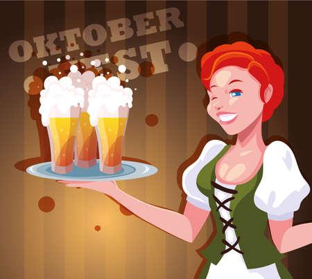 Oktoberfest woman design, Germany festival celebration europe landmark munich culture and party theme Vector illustration