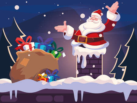 christmas card of santa claus entering the chimney on white background vector illustration design