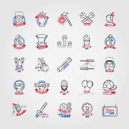 set of icons of the labor day vector illustration design