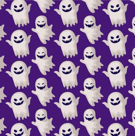 pattern of ghosts mysteries halloween vector illustration design