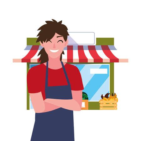 seller woman farm products market facade fruits vector illustration Vektoros illusztráció