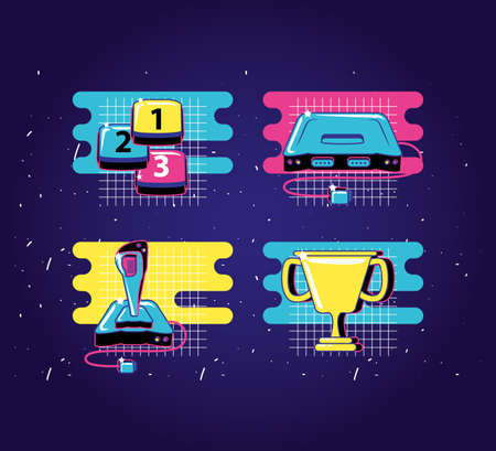 set icons of devices video game retro style vector illustration design