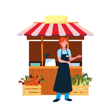 seller woman farm products stand vector illustration 向量圖像