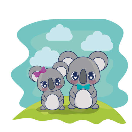 cute koalas couple characters vector illustration design