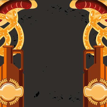 jar of beer with pretzels oktoberfest festival icon vector illustration design