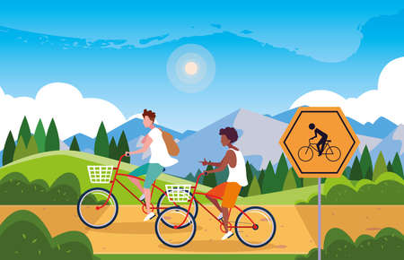 couple riding bike in landscape with signage for cyclist vector illustration design