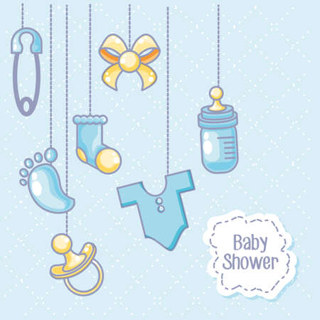 baby shower card with objects for kids hanging vector illustration design