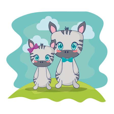cute zebras couple characters vector illustration design