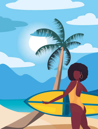 woman with surfboard summer time vacations design vector illustration Ilustração