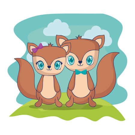cute couple chipmunks characters vector illustration design Иллюстрация