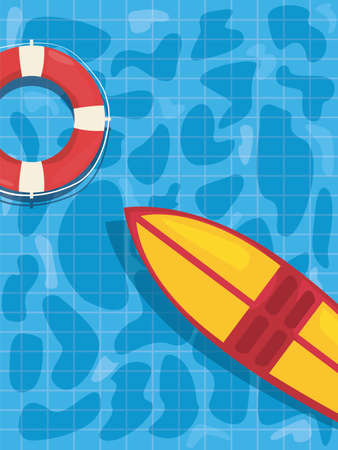 lifebuoy and surfboard in the pool - summer time vacation vector illustration