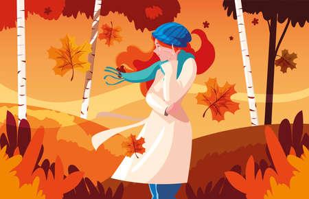 woman with hat in autumn landscape vector illustration design Ilustração Vetorial
