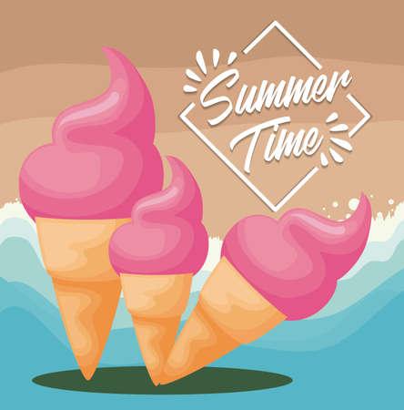 summer beach poster with set of ice cream vector illustration design Vetores