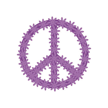 peace and love symbol with flowers vector illustration design Vetores
