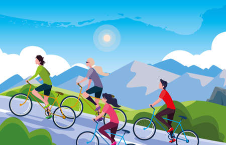 young people riding bike in landscape mountainous for road vector illustration design