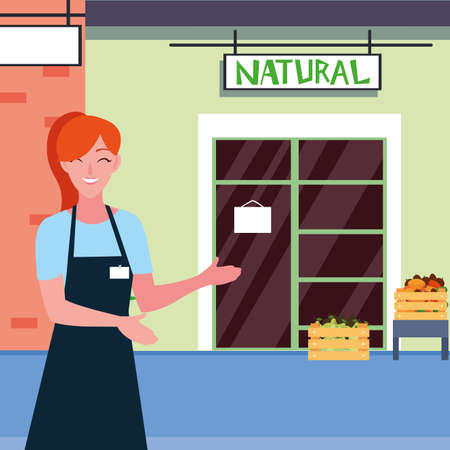 saleswoman with fruits natural store facade vector illustration design